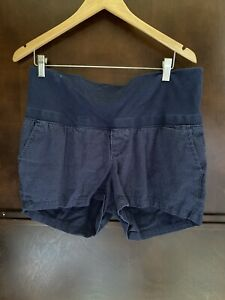 Old Navy Size Small Shorts Maternity Linen Rayon Navy Blue Belly Band EUC
