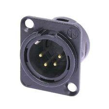 Neutrik NC4MD-L-B-1 XLR 4 Pin Male, Panel Mount - Solder Cups - Black/Gold 1113