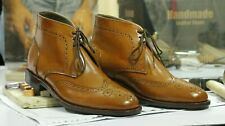 Handmade Men's Tan Brown Leather Wing Tip Brogue Lace Up Boots, Men Ankle Boots