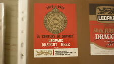 OLD NZ NEW ZEALAND BEER LABEL, LEOPARD BREWERY HASTINGS, MARTON FIRE BRIGADE