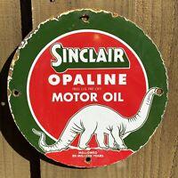 VINTAGE SINCLAIR OPALINE PORCELAIN SIGN DINO MOTOR OIL GAS PUMP PLATE PETROLIANA