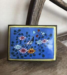 ENAMEL BRASS Beautiful Vtg Handpainted Wood Lined Trinket Cigarette Floral Box