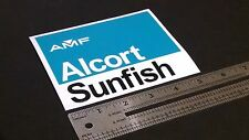 """AMF Alcort Sunfish Sailboat Turquoise Blue & Black Decal 5""""x4"""""""