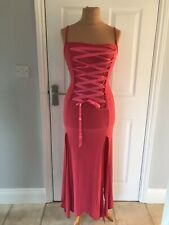 ex hire fancy dress costumes - Long Pink Stretch Evening Dress - Size Small