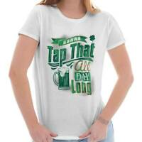 Tap Irish Beer St Patricks Day Shirt Patty Drinking Shamrock Womens T Shirt