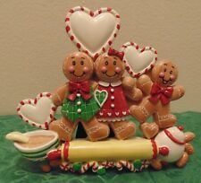 Table Top Personalized Gingerbread Family of 3 Christmas Ornament Holiday Gift