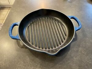 """Le Creuset Enameled Cast Iron Signature Deep Round Grill, 9.75"""", Marseille  NEW"""