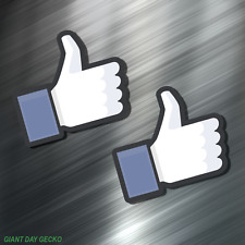 (2) TWO FACEBOOK THUMBS UP  Vinyl Decal Sticker For Car Laptop Skateboard NEW