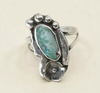 Sz 7, Vintage Zuni Sterling Silver W/ Turquoise N Flower Ring, Navajo, 925