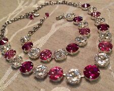 Swarovski Crystal Elements Necklace & Bracelet Fuchsia Pink 12mm Jewelry Set New