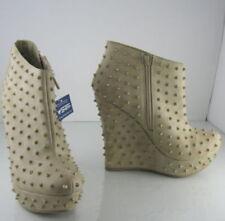 Stivali e stivaletti da donna zeppe beige in pelle sintetica