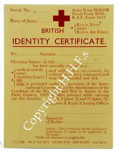 1940's-WW2-Blitz wartime memories REPLICA Red Cross Service Medical Card