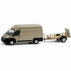 Greenlight 1/64 H&T 21 2019 RAM ProMaster Van & UtilityTrailer Set 32210C