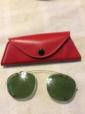 Vintage Green Glass Snap On Sunglasses And Case