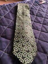 Croft And Barrow Men's Necktie Black Green Floral Flowers Design