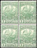 Mint NH Canada Newfoundland 1919 Block of 4 F+ 1c Scott #115 Caribou Stamps