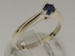 Solid 10ct White Gold Natural Sapphire Womens Solitaire Ring - Sizes J to Z