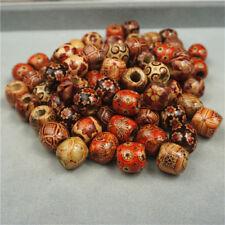 100pcs/lot 12mm Natural Wooden Big Hole Spacer Beads Fit Bracelet DIY Findings
