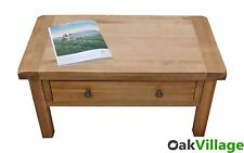 Oak Coffee Table With Storage Drawers / Living Room / Rustic Solid Wood Dorset