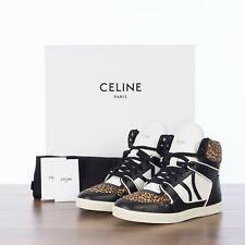 CELINE 850$ Break Mid High Lace Up Leopard Sneaker In Black & White