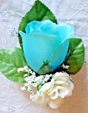 Rose Boutonniere*Corsage*light Blue white Groom *Best man Party Quinceanera