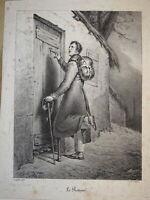 Ary SCHEFFER (1795-1858) Litho ORIGINALE LE RETOUR du SOLDAT ROMANTISME 1825 B.4