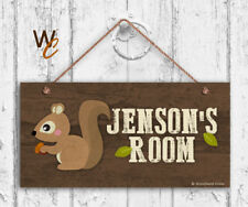 Squirrel Sign, Personalized Sign, Kid's Name, Kids Door Sign, Animal 5x10 Sign