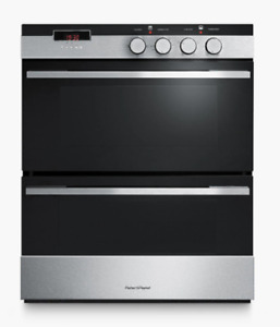 Fisher & Paykel OB60HDEX3 Double Built-Under Electric Oven, Black Glass