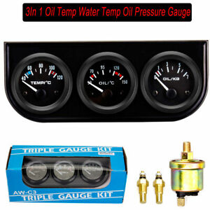 2'' 52mm Oil Pressure Gauge Water Temp Oil Temperature Meter Triple 3 in 1 Kit
