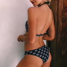 Femme Set Bikini Maillot De Bain Rembourré Push-Up Haut Cou Lacets Imprimé Rétro