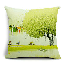Vintage Linen Hemp Cotton Couch Sofa Cushion Cover Pillow Green Tree 45X 45 cm