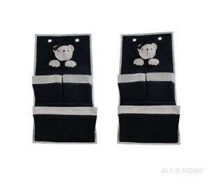 Set of 2 Nautical Soft Teddy Bear 3 Pocket Fabric Nursery Wall Hanger Baby Decor