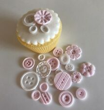 23 READY TO POST VINTAGE  BUTTONS edible sugar  cup cake decorations toppers