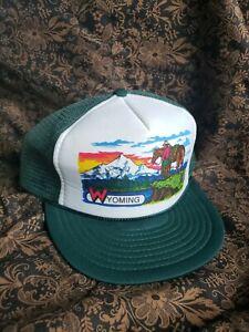 Vintage Trucker Hat Big Wyoming Snapback Foam Mesh Adjustable Cap Cowboy Sunset