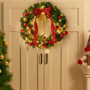 Light Up Christmas Wreath Hanging Decor Xmas Party Door Wall Garland Ornament