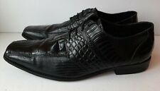 Stacy Adams Mens Sz 15M Oxfords Black Leather Square Toe Croc Print Dress Shoes