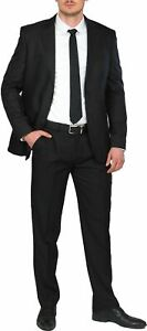 Hirschthal 2-tlg. Herren 2-Knopf Anzug Regular Fit Schwarz Sakko + Hose Suit