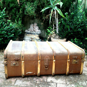 Antique Grand Trunk Heritage Suitcase Luggage Steamer Cabin Trunk Large ADELAIDE