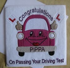 Driving Test Pass Congratulations, Personalised Machine Embroidered Card