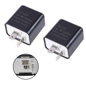 2x 2-Pin LED Adjustable Motorcycle Flasher Relay Turn Signal Indicator Flash