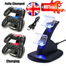 For Sony PS4 Controller LED Dual USB Port Charger Stand Charging Dock Station UK