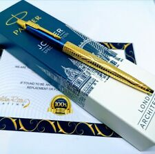 24Ct Gold Plated Blue Parker Architecture Jotter Ballpoint Writing Pen Gift Box