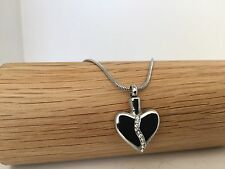 Silver Heart With Diamond Gems Urn Necklace Cremation Ashes Ash Keepsake Pendant