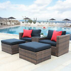 Us Ratten Sections Furniture F/ Garden Yard 5 Pieces Wicker Coversation Sofa Set