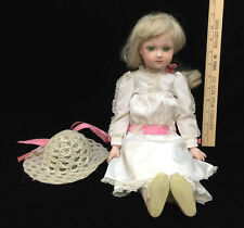 "Porcelain Doll Girl Cody Jumeau Artist Ann Lunquist Jointed Blonde 19"" Reproduct"