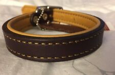New Circle T Coastal Pet Products Brown/Yellow Leather Reversible Dog Collar 16