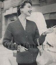 Vintage Knitting Pattern Lady's 1950s 'Boyfriend' style Cardigan/Jacket.