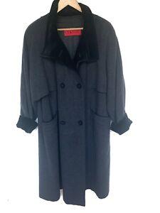 Ladies Vintage Classic Coat Cashmere Wool Grey Long Velvet Trim 2XL UK Size 20