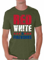 Red White And Fireworks Men's T shirts Shirts Tops  USA Flag 4th Of July Party