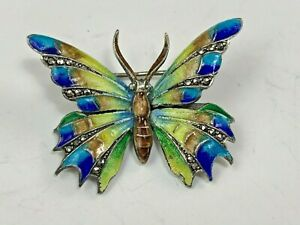German Sterling Silver & Multi-Color Enamel Butterfly Pin w/ Marcasite Accents